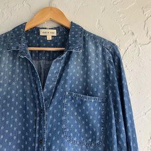 Cloth & Stone Diamond Dot Chambray Shirt L